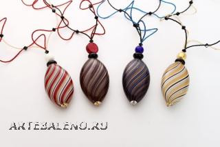 BL04 Колье с бол.бусиной Олива и бисером 72см, 4 цвета, кристаллы Сваровски и муранское стекло