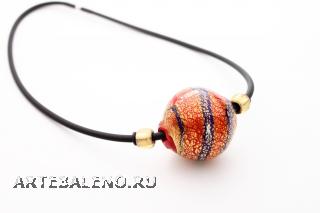 BL22 Колье крупная бусина на толстом каучуке различные формы и цвета муранское стекло