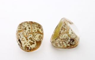 NV03 Кольцо Бонди' удлиненное Шамаре' 3,5см цвет золото-слоновая кость