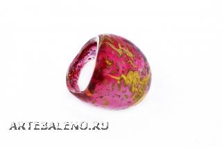 NV06 Кольцо Бонди' удлиненное Шамаре' 3,5см цвет лилово-золотой