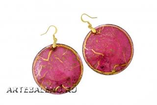 NV06 Серьги Бонди' круглые диам.5 см цвет лилово-золотой