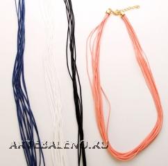 """Ожерелье текстильное многорядное """"мультифило"""" 4 цвета длина 45-50см"""
