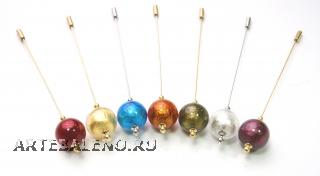 Игла для шарфа или берета с одной бусиной 18мм 7 цветов муранское стекло