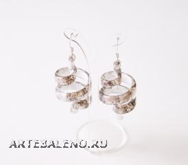 NV02/2 Серьги спираль Бонди' цвет платина муранское стекло