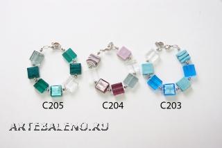 C203-204-205 Браслеты из квадратных бусин 15х15мм муранское стекло