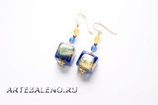 2012-23/maz Серьги золото-лазурь муранское стекло