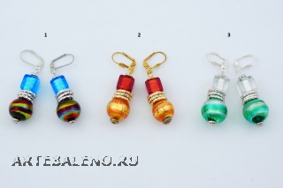 2012-33/maz Серьги 3 цвета муранское стекло