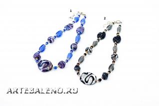 2012-69/maz Колье 45 см с центральной бусиной-ромбом (серебро) 2 цвета муранское стекло