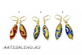 2012-71/maz Серьги 3 цвета овальные муранское стекло