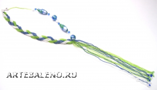 2012-74/maz Колье Косичка цвет зелено-бело-голубой муранское стекло