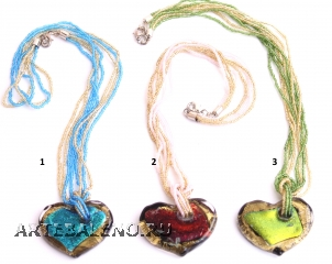 VY624 Подвеска-сердце 4,5см на бисере цветное стекло