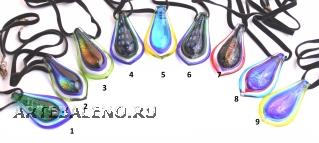 VY590 Подвеска-язык 4,5см различные цвета цветное стекло