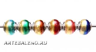 TR01 Сет 6 бусин 13x15mm Bicolore Oro муранское стекло