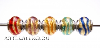 TR09 Сет 5 бусин 13х15мм Spirale Oro муранское стекло