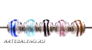 TR10 Сет 5 бусин 13х15мм Spirale Argento муранское стекло