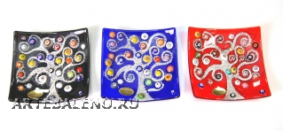 "N10 Блюдце декоративное ""Климт"" 12х12см 3 цвета муранское стекло"
