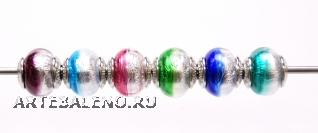 TR02 Сет 6 бусин 13х15мм Bicolore Argento муранское стекло