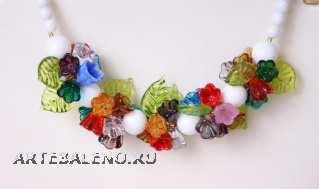 2012-2/maz Колье 45 см Цветочная композиция мультиколор фото2 муранское стекло