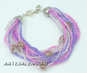CN62/63-B Бисерный браслет для колье Мимоза и Тюльпан 16 нитей цвет  розово-сиреневый