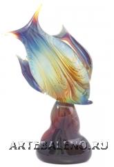 """TP13(1) Скульптура на подставке """"Рыба"""" h35cм с кальцедоном муранское стекло"""