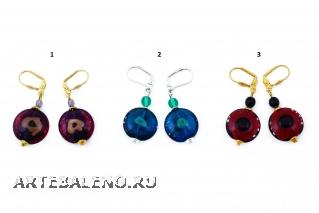 2013-13/maz Серьги Exotic Trip 3 цвета муранское стекло