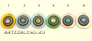 DEM01 Подвеска Квадрат с круглыми углами  6 цветов муранское стекло