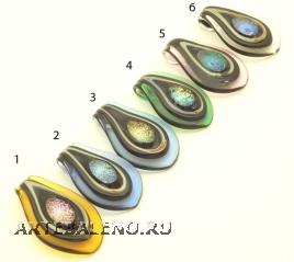 DEM01 Подвеска Листок 6 цветов муранское стекло