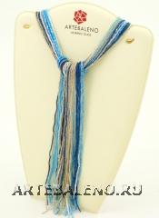 CN32 Бисер 36 нитей в форме шейного платка 105см цвет сине-голубой с серебром