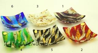 ISV23 Блюдце декоративное 14х14см 6 цветов муранское стекло