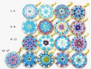 Mur1 Подвеска диам.2,3 см Классическая мозаика (6) муранское стекло