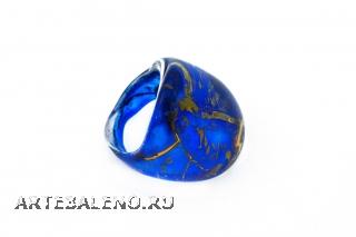 NV14 Кольцо Бонди' удлиненное Шамаре' 3,5см цвет сине-золотой