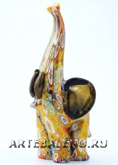 MD01 Статуэтка Слон с мурринами и золотом h16cm муранское стекло