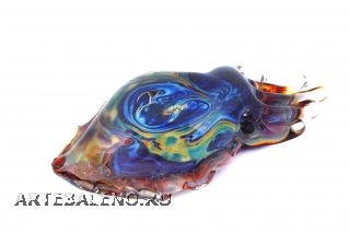GRos05 Статуэтка Кальмар (каракатица) с кальцедоном 10-11 муранское стекло