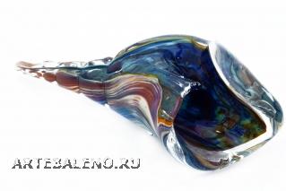 GRos05 Статуэтка Ракушка с кальцедоном 12-13 см муранское стекло
