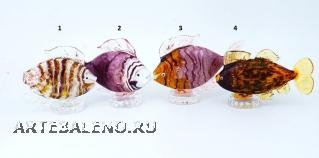 GRos06(1) Статуэтка Тропическая рыбка 4 цвета муранское стекло