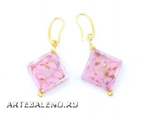 2016-32/maz Серьги Клеопатра цвет розовый бусины 2х2см муранское стекло