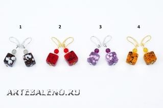 RC05/maz Серьги-кубики Апеннины 4 цвета муранское стекло