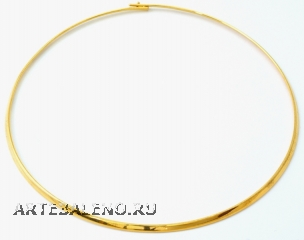 Ожерелье металлическое жесткое родированное цвет золото