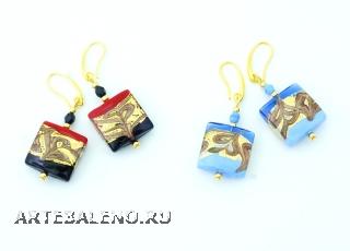 2017-1/maz Серьги Эмми 4 цвета 1,7х1,7 см муранское стекло