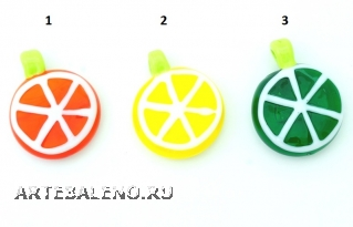 LV14-LV13-LV12 Подвеска Цитрус - апельсин, лимон, лайм 3 см муранское стекло