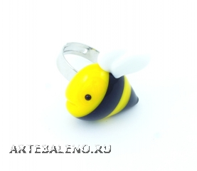 LV42 Кольцо Пчелка 3,5 см муранское стекло