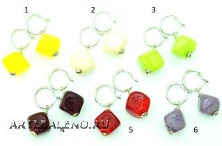 Vac/O Soffiato(1) Серьги дутые в форме кубика моноколор муранское стекло