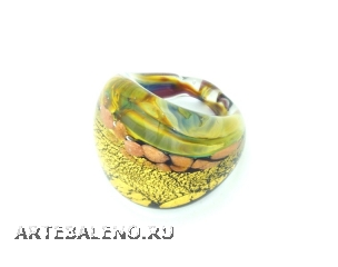 RD23 Кольцо Сорренто кальцедон+золото муранское стекло