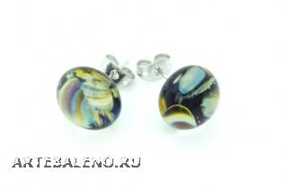 RD22 Серьги-гвоздики Амальфи с кальцедоном муранское стекло