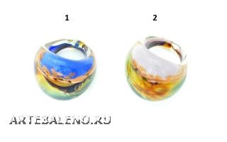 RD21 Кольцо Позитано с кальцедоном 2 цвета муранское стекло
