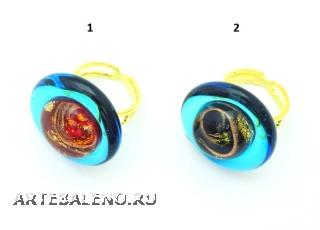 VC22 Кольцо Атолл диаметр 2,5см, цвет канта бирюзовый муранское стекло