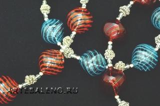 IC03 (02) Колье Дольче Вита с 7 филигранными бусинами 3 цвета 48+4 см муранское стекло