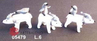 05479 Полярный медведь стеклянный с пингвином сет 6 шт