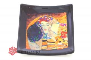 N40 Блюдце-конфетница 9х9см  Климт Поцелуй муранское стекло