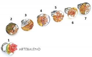 RS43 Кольцо круглое с золотом, серебром и авентурином 7 цветов муранское стекло